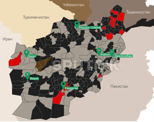 Обстановка в Афганистане на момент 6 июля 2021 года. Черный - провинции под Талибаном. Серый - провинции под правительством Афганистана. Красные - провинции, где идут бои.