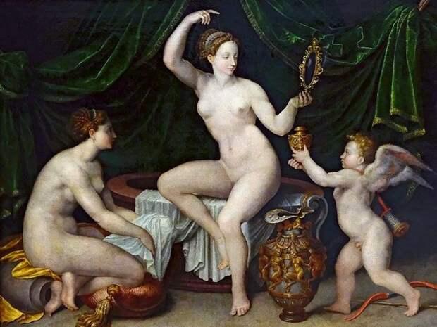 Венера в своем туалете. Неизвестный мастер школы Фонтенбло, середина XVI века.