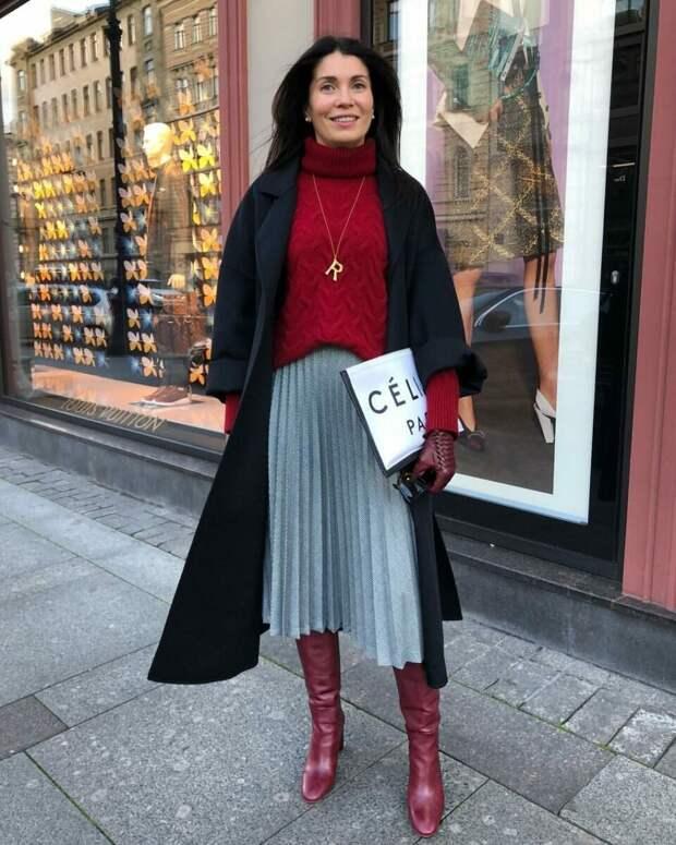 Осенний образ с теплым свитером. /Фото: moda-styl.ru