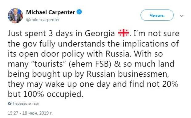 Волнения в Грузии с флагами США и Украины
