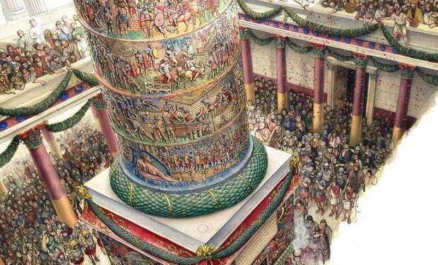 Праздничное открытие монумента. Как видно на реконструкции, Колонна стояла на заднем дворе базилики Ульпия, между двух корпусов библиотек. Это было не самое выгодное место экспозиции, однако с высоких галерей расположенных рядом строений публика могла легче различать рельефы верхней части Колонны, которые сегодня практически недоступны для невооружённых глаз - Колонна Траяна   Warspot.ru