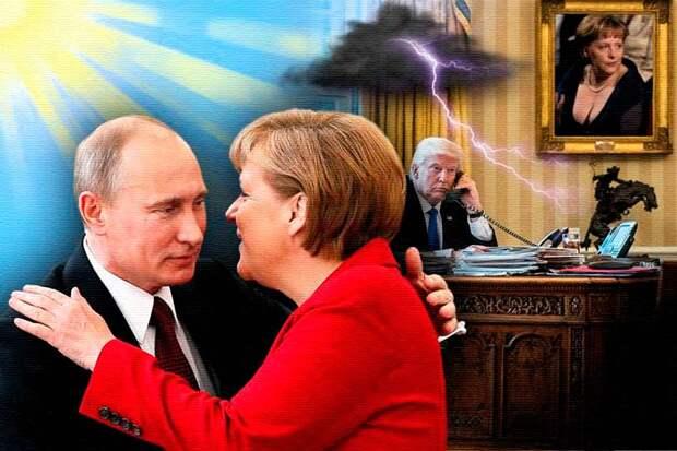 Путин, Меркель и Трамп