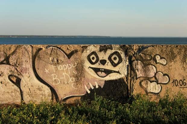 «Любви нет. Бухай»: что новосибирцы рисуют на длинной стене у Обского моря — 10 граффити с разным настроением