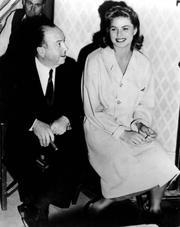 Альфред Хичкок и Ингрид Бергман во время съёмок фильма «Заворожённый». Фото