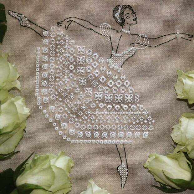 Вышивка балерина