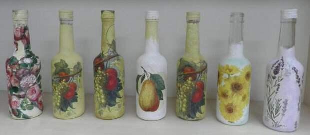 Декупаж бутылок или мастер-класс по превращению обычной бутылки в оригинальную вазу