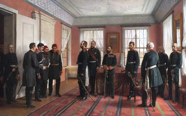 Пленного Осман-Пашу, командовавшего турецкими войсками в Плевне, представляют Александру II в день взятия Плевны русскими войсками