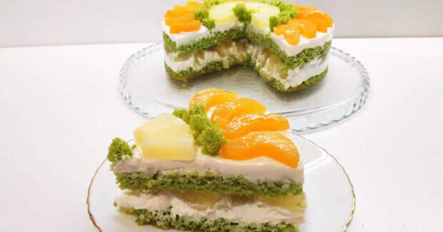 Творожный торт с фруктами. \ Фото: cookpad.com.