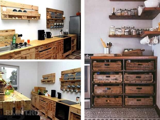 Кухни из поддонов: фотоподборка