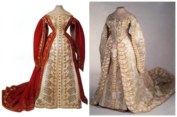 Отличительной чертой русского покроя было платье с разрезными рукавами, которые спускаются вдоль юбки