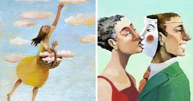 Пороки и проблемы общества в сюрреалистических иллюстрациях Кристины Бернарццани