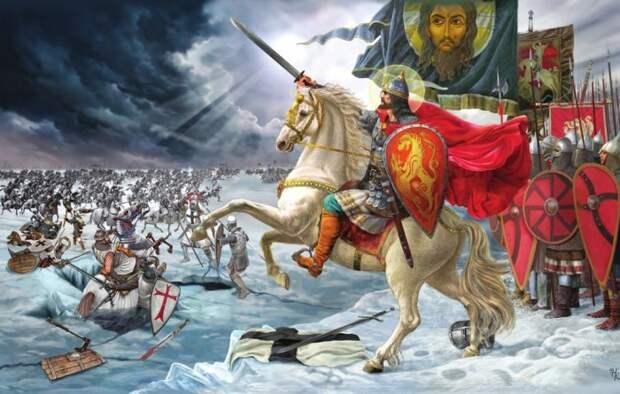 Александр Невский в бою с тевтонскими рыцарями