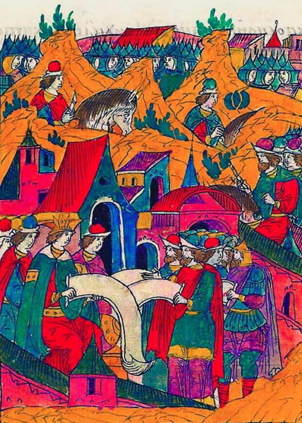Царский смотр летом 1556 года. Миниатюра из Лицевого свода, том 22 - «Война двух царей»: разведка | Warspot.ru