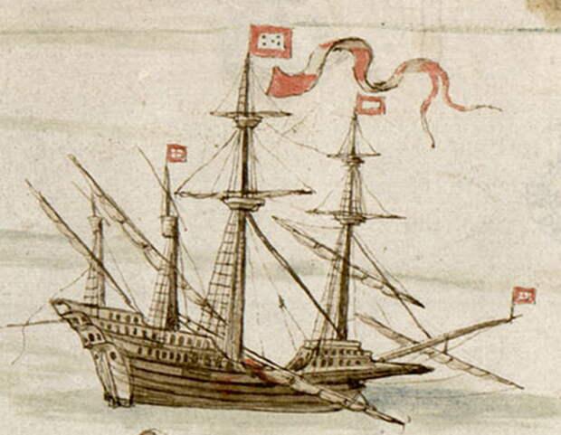 Португальский галеон на рисунке 1540 года. Два яруса прямых парусов и четыре мачты - Превеза: наступление, «обращённое в ничто» | Warspot.ru