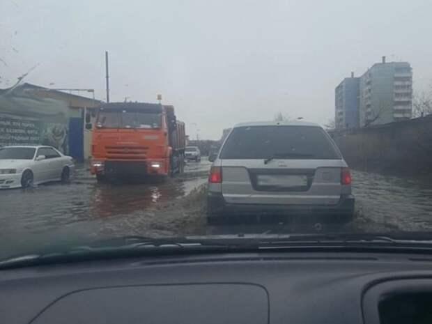 Улицу Лазо снова затопило в Чите после одного дня дождей
