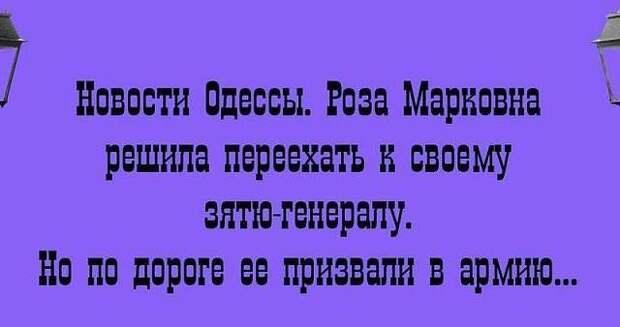 На изображении может находиться: текст «новости одессы. роза марковна решила переехать K своему зятю-генералу. Ho по дороге ee призвали в армию...»