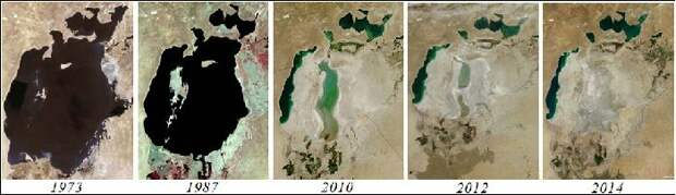 Деградация моря с 1970-х г. до наших дней. Фото Яндекс. Картинки.