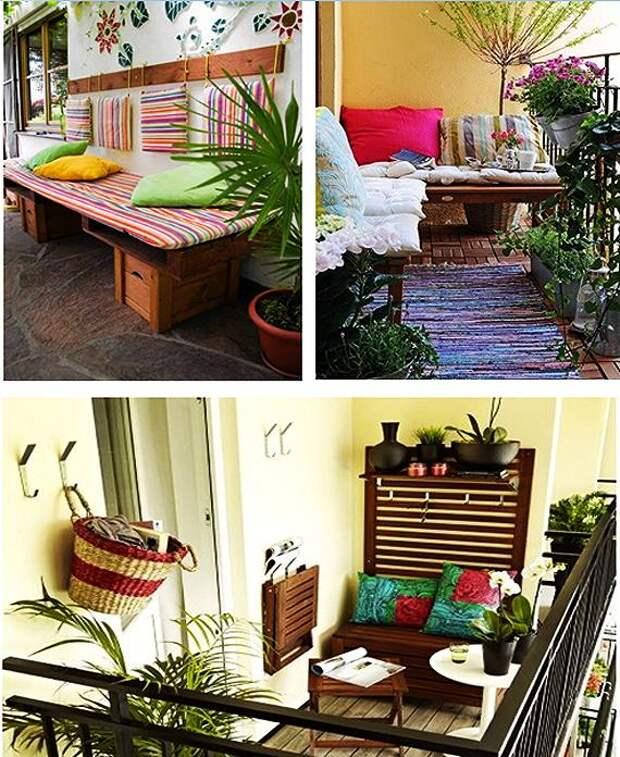 Самодельные скамейки и диваны