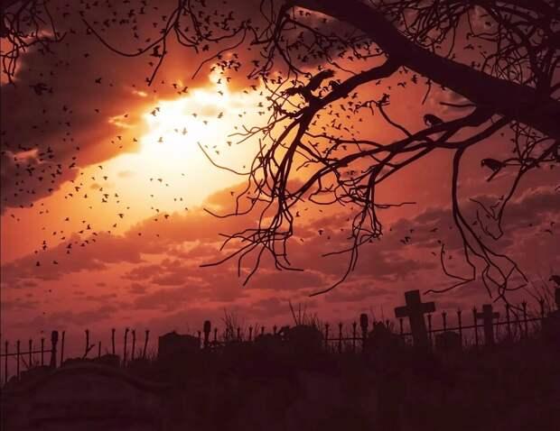Шёл ночью мимо кладбища и увидел огонёк. Решил посмотреть, что там происходит