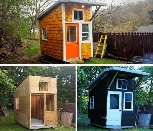 Этапы строительства крошечного дома, созданного юным Люком Тиллом (США).   Фото: kudaka.ru.