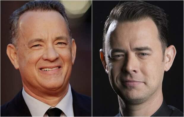 Знаменитый актер Том Хэнкс и его старший сын, как две капли воды похожий на своего отца, Колин Хэнкс.
