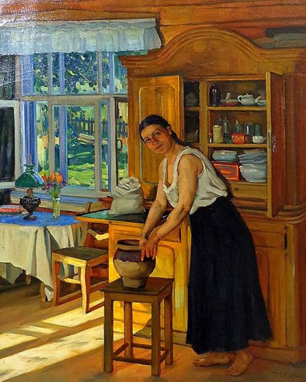 Портрет жены художника, Екатерины Алексеевны. Автор: Константин Юон.