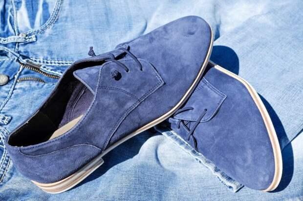 замшевые туфли синего цвета