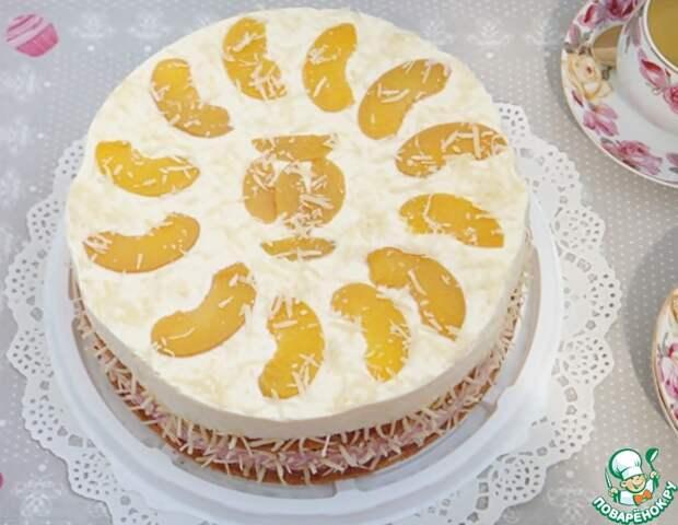 Рецепт: Малиново-персиковый торт с творожным кремом