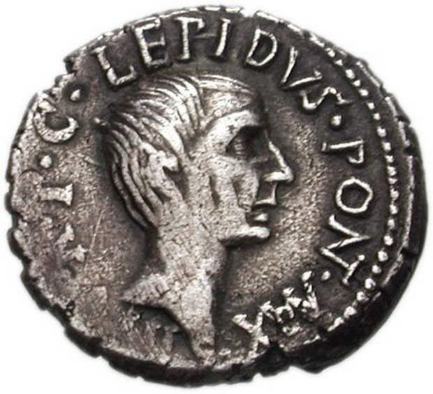 Изображение Лепида на серебряном денарии 42 года до н.э. - Гражданские войны Рима: Антоний против сил сената | Warspot.ru