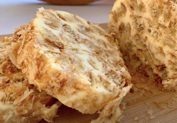 Торт-полено из банки сгущенки: тесто не замешиваем