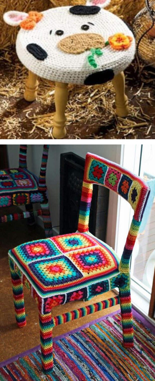 Вяжем крючком аккуратный чехол на стул или табурет: 15 идей рукодельницам...