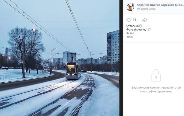 Фото дня: вечерний трамвай в Строгине