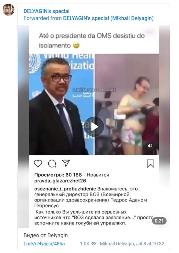 Михаил Делягин опубликовал компромат на главу ВОЗ