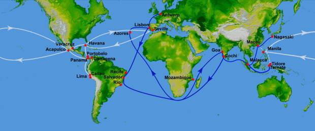 Португальские (синий цвет) и испанские (белый) торговые пути в XVI веке - Диу: недружественный визит | Warspot.ru