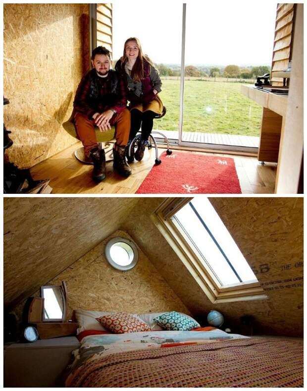 Благоустроенная спальня и рабочий кабинет в двухэтажном домике из вторсырья.   Фото: micetimes.asia.