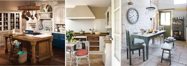 отделка камнем на кухне в стиле прованс
