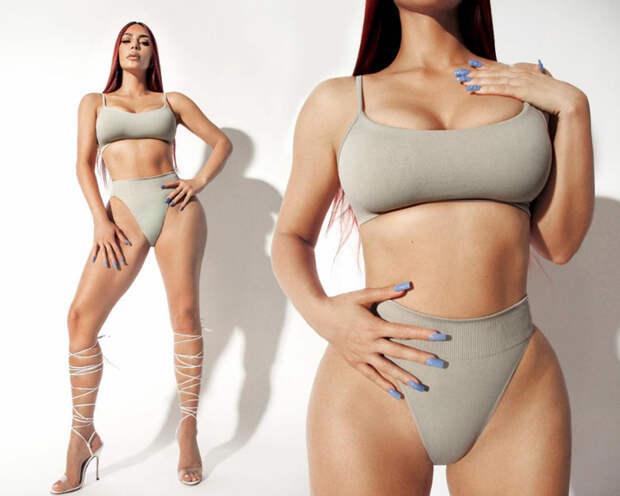 Красные волосы, пикантные формы: Ким Кардашьян представила новую коллекцию своего бельевого бренда