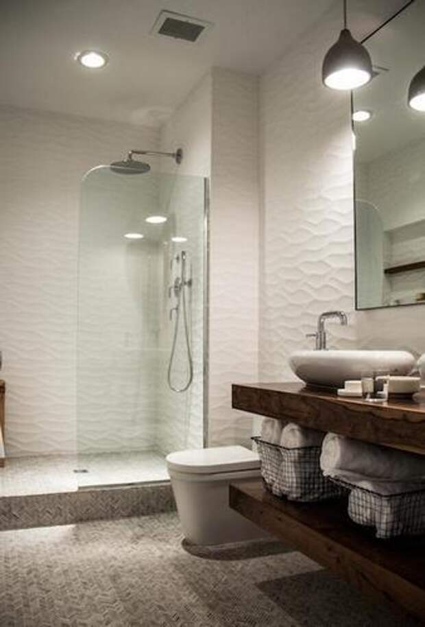 волнистая плитка в ванной