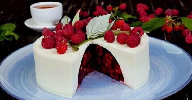 Желейный торт Малиновый сюрприз