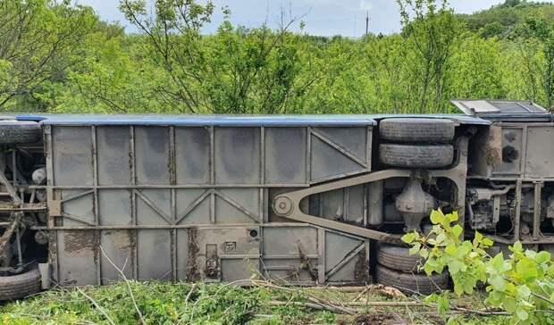 Под Белгородом опрокинулся автобус с21 пассажиром