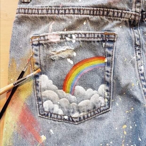 что нарисовать на джинсовых карманах