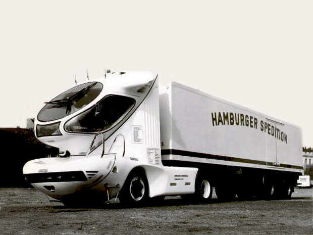 Colani Truck 2001 (1978) Первый из серии седельных тягачей Колани. Так, полагал дизайнер, будут выглядеть  грузовики 21го века Colani, авто, дизайн