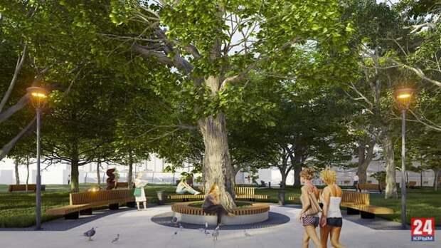 Как будет выглядеть обновлённый сквер имени Дыбенко в Симферополе. ФОТО