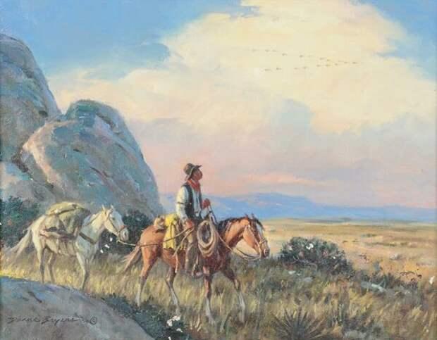 Автор знаменитой пин-ап Пышечки Хильды Дуэйн Брайерс рисовал отличные картины в стиле-ВЕСТЕРН.