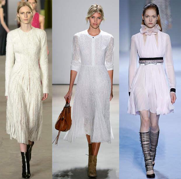 Белые платья осень-зима