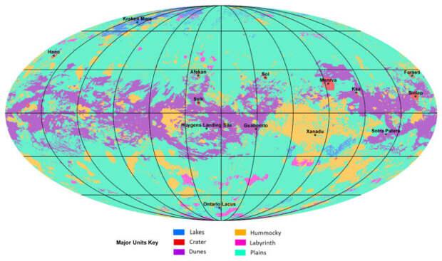 Составлена первая глобальная карта Титана