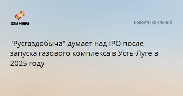 """""""Русгаздобыча"""" думает над IPO после запуска газового комплекса в Усть-Луге в 2025 году"""