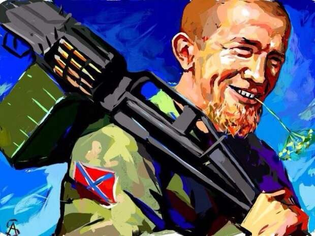 Картина, холст, масло. «Моторола идет косить Укроп»