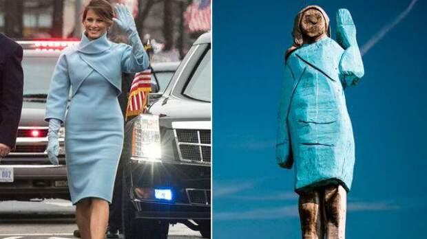 Трудно узнать: в Словении установили деревянную статую Меланьи Трамп