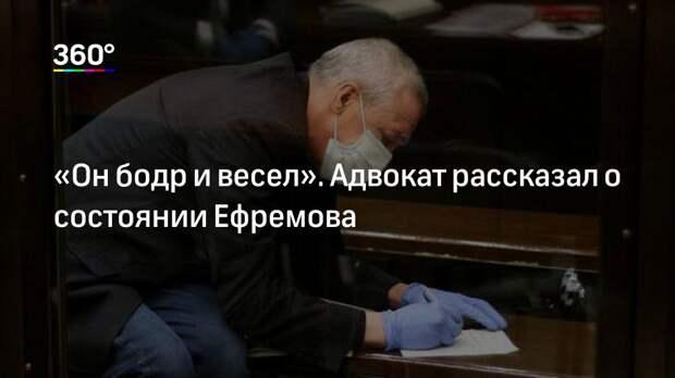 «Он бодр и весел». Адвокат рассказал о состоянии Ефремова